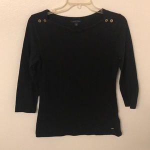 Tommy Hilfiger Black Mid Length Sleeve Top